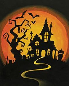 "Social Artworking Canvas Painting Design - Hilltop Haunt Trick-or-treaters might be a little hesitant to knock on the door of this creepy mansion. With its resident bats flying around and its own cemetery, it doesn't seem welcoming to visitors. Add LED lights to this design to make a fun addition to your seasonal Halloween decor. CANVAS SIZE: 16"" x 20"" TIME TO PAINT: approximately 2 hours 30 minutes"