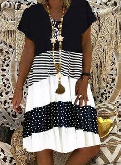 V Neck Midi Dress, Striped Midi Dress, Dot Dress, Polka Dot Summer Dresses, Summer Dresses For Women, Casual Dresses, Short Sleeve Dresses, Maxi Dresses, Knee Length Dresses