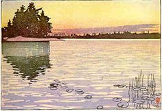 #46 - Whitefish Bay, Lake of the Woods Color by Walter J. Phillips, woodcut on paper, edition 50