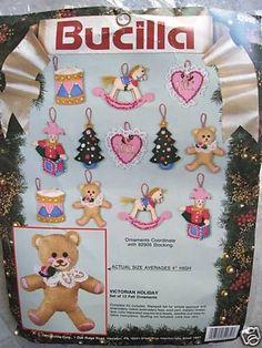 Christmas Bucilla Felt Applique Craft Ornament Kit,VICTORIAN HOLIDAY,Set of 12 #Bucilla