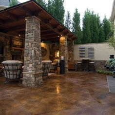 stained Concrete Backyard Ideas | Patio stained concrete Design Ideas, Pictures, Remodel ... | For the ...