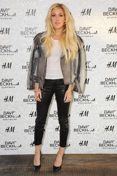 Ellie Goulding worked the leather trouser trend, choosing a cropped pair for summer, while draping a jacket over her shoulder. She teamed them with a simple t shirt. - Badmademoiselle