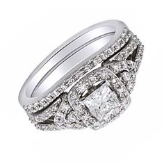 0.88 Ct Square Princess Cut D/VVS1 Bridal Set Wedding Set Ring Sterling Silver by JewelryHub on Opensky