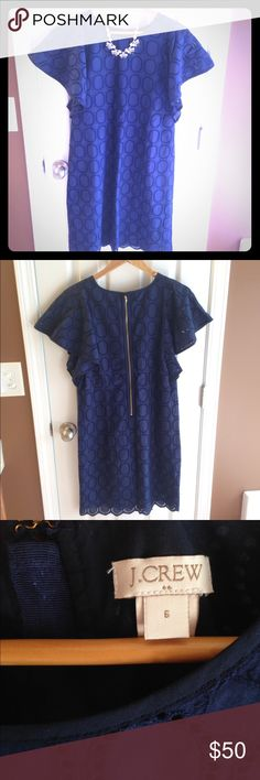 ⚡️J. Crew eyelet dress EUC-worn once. J. Crew factory navy, eyelet dress. Size 6.  Exposed back zipper and amazing flutter sleeves. STUNNING! Great for date night/wedding or dress down for work. Simply lovely and elegant. J. Crew Dresses