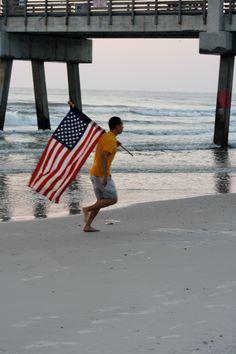American Flag. Labor Day - Jacksonville Beach, FL Jacksonville Beach, September 2, Us Beaches, Gulf Of Mexico, God Bless America, Atlantic Ocean, American Flag, Amazing Photography, Florida