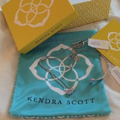 Kendra Scott Set Matching silver and light lilac Hayden necklace and Hanna bracelet. Brand new with tags. Comes with box, care card, and a dust bag! Cheaper on merc! Will sell seperately also! Kendra Scott Jewelry Necklaces