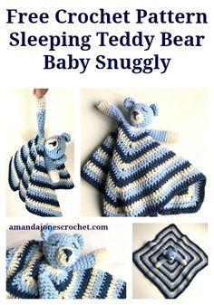 crochet iphone Sleeping Teddy Snuggly - A super cute Crochet Bear Baby Snuggly. The perfect handmade baby shower gift. Crochet Teddy, Crochet Bebe, Crochet Gifts, Cute Crochet, Crochet Dolls, Crochet Sheep Free Pattern, Crochet Blanket Patterns, Amigurumi Patterns, Baby Blanket Crochet