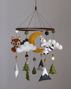 This unique nursery diy is certainly a notable style concept. Woodland Mobile, Woodland Nursery Decor, Woodland Animal Nursery, Moon Nursery, Yellow Nursery, Nursery Boy, Mountain Nursery, Yellow Moon, Selling Handmade Items