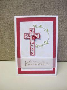 Meine Kommunionkartenentwürfe für dieses Jahr. Wenn Du auch noch Einladungskarten zur Kommunion benötigt, darfst Du dich gerne melden.     ... Baptism Cards, Stampin Up Cards, Communion, Christening, Quilling, Holi, Sewing Crafts, Easter, Frame