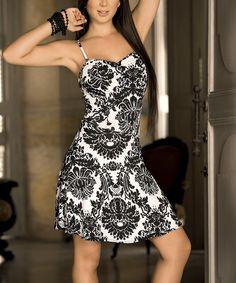 Black Damask Back-Cutout Sleeveless Dress