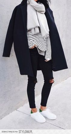 Navy Coat / Stripey Tee / Grey Scarfe / Black Distressed Jeans / White Sneakers