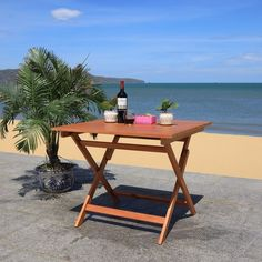 """SAFAVIEH Outdoor Living Kresler Folding Table - 35.4""""x35.4""""x29.5"""" - On Sale - Overstock - 29593358 Rattan Side Table, Metal Side Table, Solid Wood Dining Table, Buffet Console, Wood Buffet, Folding Picnic Table, 3 Piece Bistro Set, Outdoor Living, Outdoor Decor"""