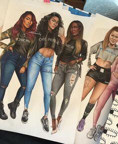 Image may contain: 4 people, shoes Black Love Art, Black Girl Art, Art Girl, Fashion Design Drawings, Fashion Sketches, Cute Girl Drawing, Drawing Girls, Dope Cartoon Art, Best Friend Drawings