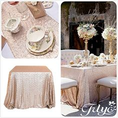"""Champagne Sequin Table Runner 12"""" x 108"""" Sequin TableCloth Wholesale Sequin Table Cloths Sequin Linens! Go to Dealsbyminute.com for all the."""