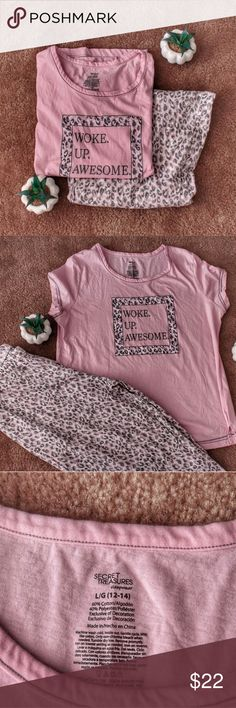 Summer Pajamas Set Pink graphic tee and pink and grey cheetah print crop bottoms with elastic waist  Never Worn - Large (12/14) Secret Treasures Intimates & Sleepwear Pajamas