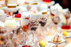 VT Interiors - Library of Inspirational Images: Feeling ...Elegant...using different types of stemware for different desserts for a cocktail or holiday party...
