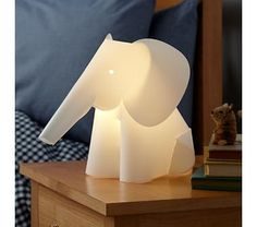 Land of Nod (also giraffe, owl, and porcupine) ... check out their other shaded lamps too!!  affordable and cute and some simple shades could be spruced up with ribbon rows, or painted chevrons or bleach pens!