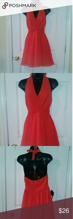 "Bebe orange red halter dress M 18"" armpit to armpit 36"" length bebe Dresses"