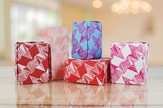 Gift boxes created using prints from the Screen Sensation + Triagonal screen Feb 2017, How To Dye Fabric, Gift Boxes, Origins, Crates, Empty, Screen Printing, Ann, Container