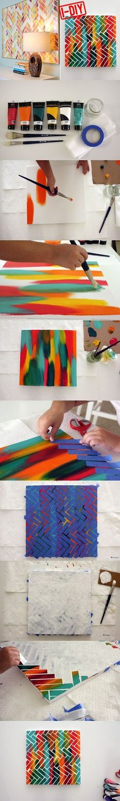 DIY Project Painters Tape Art, pretty awesome and neat that someone shared the idea. Just one thing. This is art, not just a DIY project. Cute Crafts, Crafts To Do, Diy Crafts, Painters Tape Art, Cuadros Diy, Diy Y Manualidades, Creation Deco, Ideias Diy, Diy Wall Art