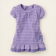 The Children's Place - Striped Active Ruffle Top