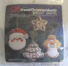 Columbia Minerva Christmas Cookie Ornament Crewel Kit 7942 Santa Star Tree Angel