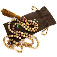 8mm Morocco Agate & Rudraksha 108 Full Buddhist Malas, Mala Necklace, Knotted Gemstone Mala Beads Prayer Meditation Yoga tassel free bag. $58.89, via Etsy.