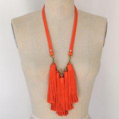 { orange tassel necklace } #leather