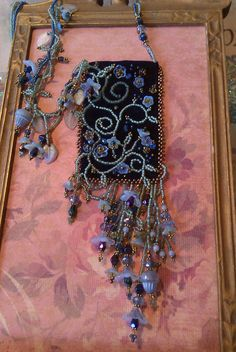 Asymmetrical Floral embellished beaded bag by KiowaRoseBeads, $85.00