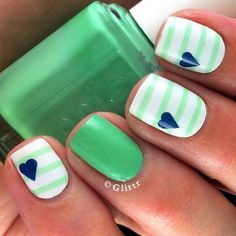Try some of these designs and give your nails a quick makeover, gallery of unique nail art designs for any season. The best images and creative ideas for your nails. Fancy Nails, Love Nails, Trendy Nails, Diy Nails, Pretty Nail Designs, Nail Art Designs, Nails Design, Stripe Nail Designs, Baseball Nail Designs