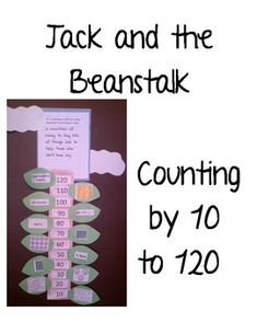 could use pegs for the children to peg on the numbers to the beanstalk, incorporating motor skills. This product is an art activity to use in a math center to create a beanstalk that counts by to 120 and shows different ways to make each . Math Classroom, Kindergarten Math, Teaching Math, Early Years Maths, Early Math, Writing Activities, Math Resources, Fairy Tales Unit, Traditional Tales