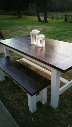 Check out this item in my Etsy shop… Diy Outdoor Furniture, Country Furniture, Furniture Projects, Home Projects, Diy Furniture, Outdoor Decor, Farmhouse Style Table, Farmhouse Design, Farmhouse Decor