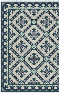 Gallery.ru / Фото #3 - Blue Tile Carpet and Pillow - azteca