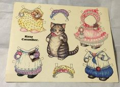 """Unused, Kitty Cucumber Large Postcard W/Cut-Out Doll Clothes 7 1/2"""" X 6"""" >1983< 
