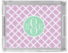 Monogrammed Lucite Tray by Pink Wasabi Ink