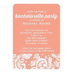 Classy Peach Lace Bachelorette Party Invite
