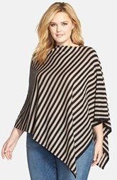 Eileen Fisher Stripe Fine Merino Wool Poncho (Plus Size)