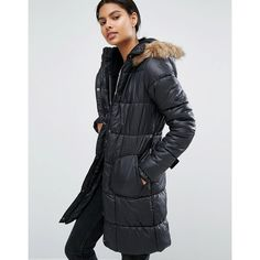 Vila Belted Faux Fur Trim Padded Coat (315 ILS) ❤ liked on Polyvore featuring outerwear, coats, black, padded coat, faux fur trim coats, hooded quilted coat, vila and fur-lined coats