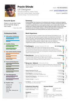 User Experience Designer Resume 11 Best Design Resumes Images On Pinterest  Resume Design Design .