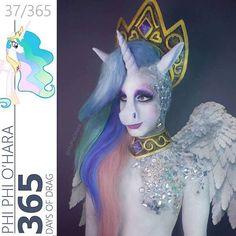 Phi phi 365 days of drag Halloween Cosplay, Halloween Makeup, Halloween Fun, Drag Queen Makeup, Drag Makeup, Fx Makeup, Unicorn Headband, Unicorn Hair, Prosthetic Makeup