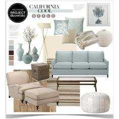 Project Decorate: California Cool With Flourish Design and Style by jpetersen on Polyvore featuring interior, interiors, interior design, home, home decor, interior decorating, Williams-Sonoma, Serena & Lily, West Elm and Clayton