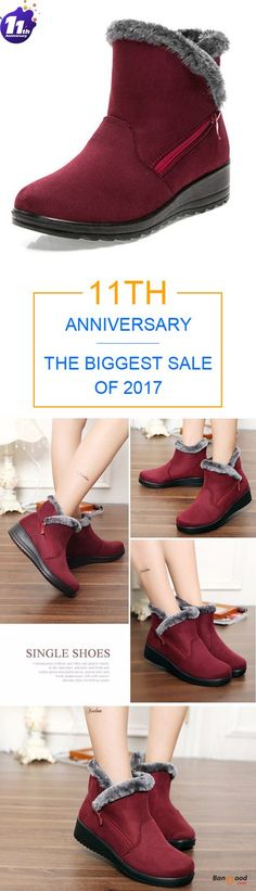 48d9fc9f0e04 New Large Size Women Winter Boots Round Toe Ankle Short Snow Boots