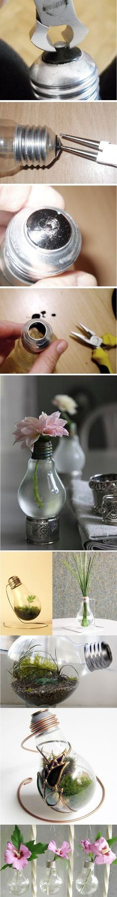 DIY Project: Recycled Light Bulbs by Michelle Winter (diy projects glass jars) Diy Projects To Try, Crafts To Do, Craft Projects, Arts And Crafts, Easy Crafts, Easy Diy, Recycled Light Bulbs, Light Bulb Crafts, Creation Deco