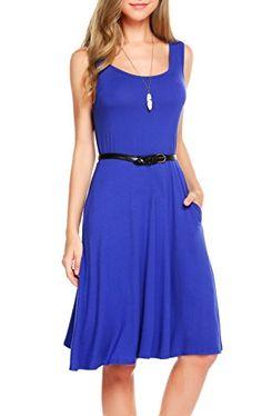 6665ce8a750 Summer Dress  16.99 SimpleFun Women s Summer Sleeveless Swing Loose Dress  with Pockets (M