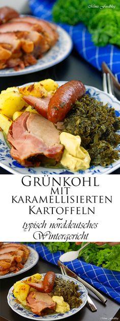 Grünkohl mit karamellisierten Kartoffeln, Schweinebacke, Kassler und Mettenden ist ein typisch norddeutsches Wintergericht.