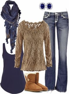 Fall Outfit With Brown Lace Blouse and Bedouin Scarf