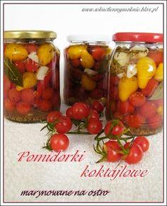 pomidorki koktajlowe marynowane na ostro Nasu, Stuffed Peppers, Vegetables, Food, Stuffed Pepper, Essen, Vegetable Recipes, Meals, Yemek