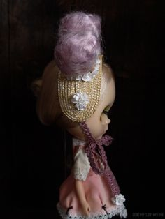 """Blythe Hears Voices"" One of a kind headpieces for Blythe dolls made with all vintage materials, handmade by Yatabazah. Visit http://donteverloveme.com/dolls to see more styles and order your own. ""They whisper to me!"".."