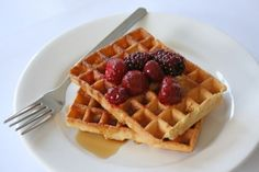 Super Simple Waffles with Raspberry Sauce