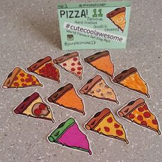 Pizza Sticker Pack No. 1 12 Graffiti Slaps by CuteCoolAwesome